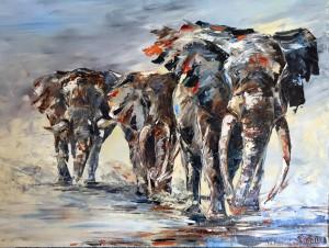 éléphants-groupe